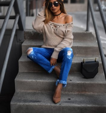 A MUST HAVE FOR FALL- NEUTRAL LACEUP SWEATER