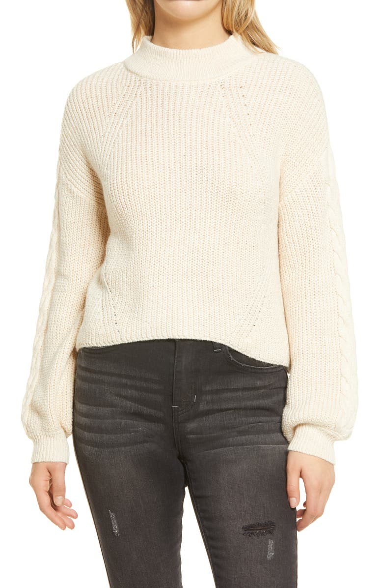BP Cable Knit Balloon Sleeve Sweater