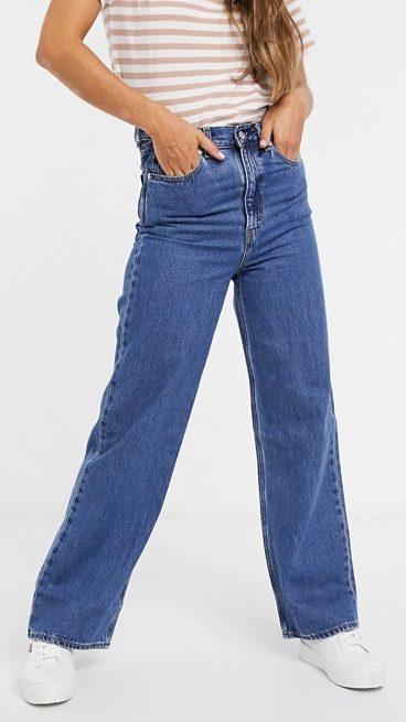 Levi's High Loose Straight Leg Jeans In Dark Blue