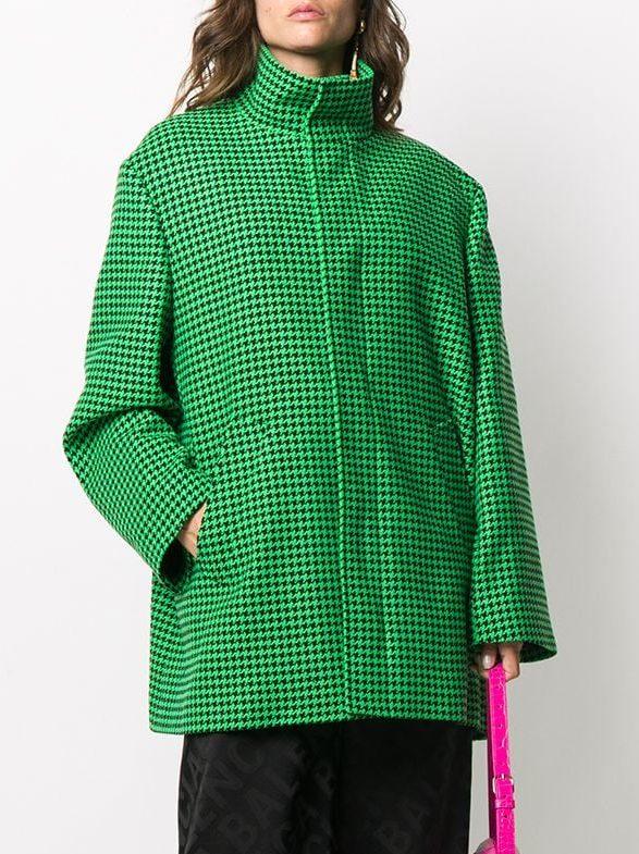 Balenciaga Houndstooth-Pattern A-Line Coat